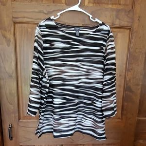💥 NWOT Travelers by Chico's Striped Sheer Top